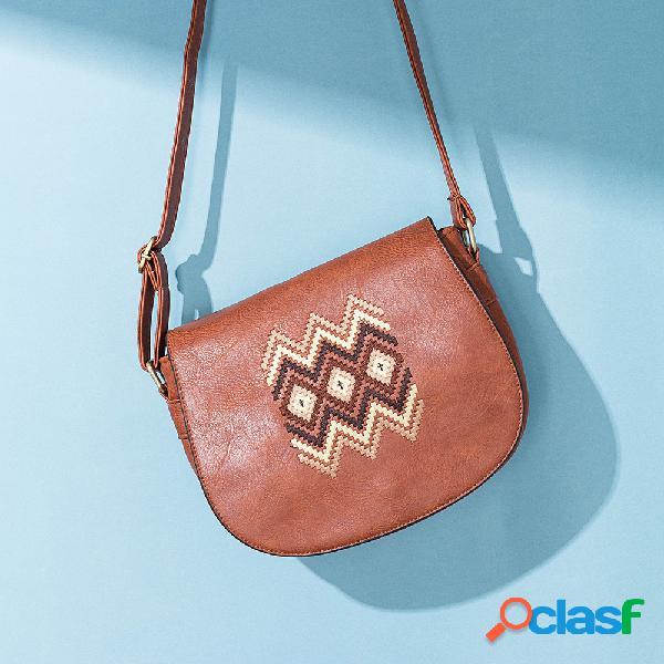 Crossbody bordado feminino nacional de couro pu bolsa ombro vintage bolsa
