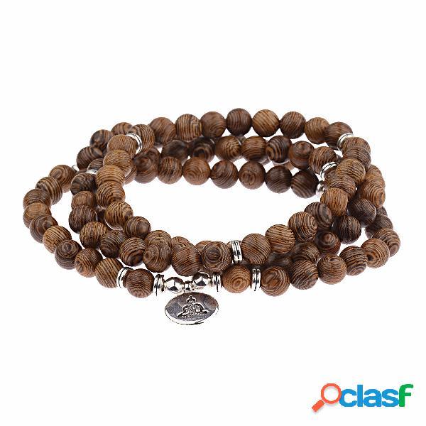 Étnico 108 peça de madeira pulseira frisada estilo retro multi camada elástica pulseira