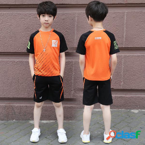 Menino manga curta de mangas curtas carta sports suit