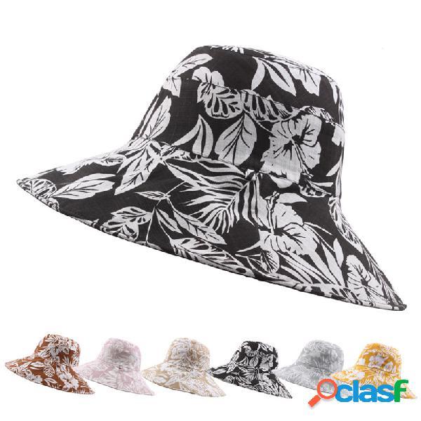 Mulheres bacia de impressão rural wearable dupla face de pesca chapéu ao ar livre ocasional protetor solar praia chapéu