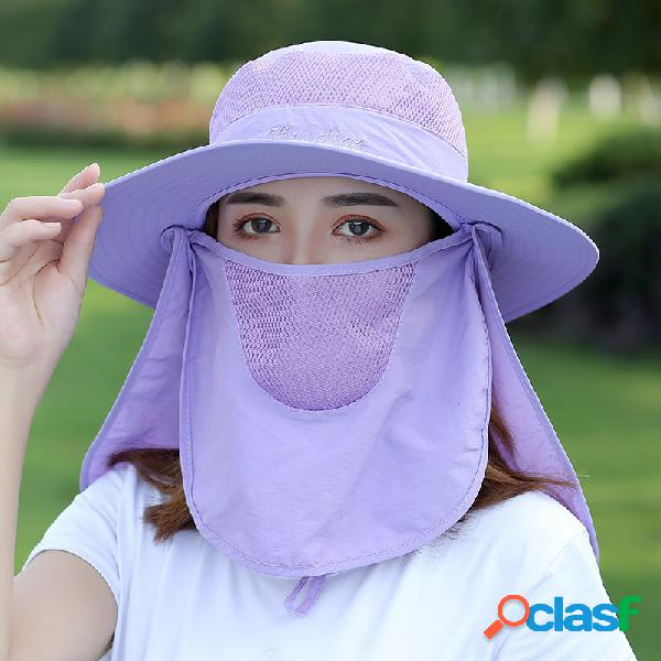 Mulheres cor sólida multifunções protetor solar xale sol tampa rosto