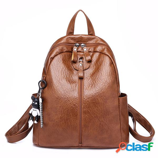 Mulheres soft mochila de couro viagem grande capacidade de ombro bolsa