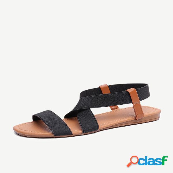 Sandálias rasteiras femininas com boca de peixe grande