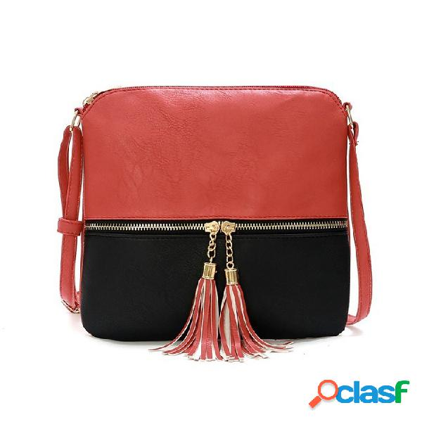 Woman little bolsa casual pu couro crossbody bolsa bolsa franjada