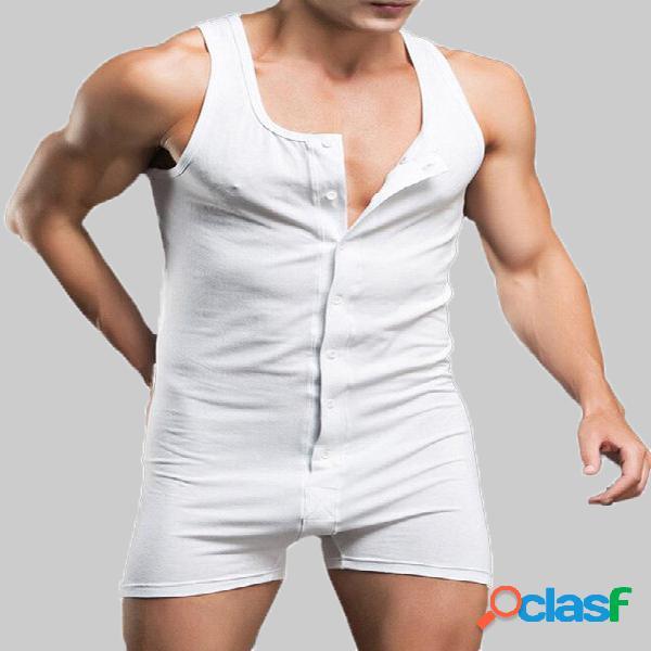 Macacão masculino one peças de gola redonda sem mangas macacão botões conjunto de pijama terno união simples
