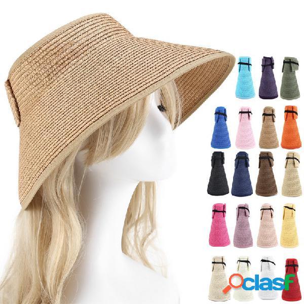 Mulheres verão dobrável protetor solar vazio-top bow chapéu ao ar livre ocasional praia sol palha chapéu