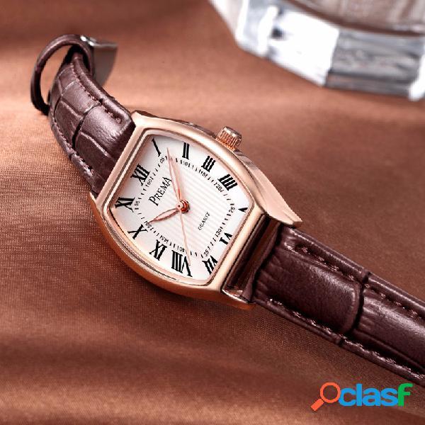 Relógio de couro estilo retro roman dial relógio de quartzo para mulheres