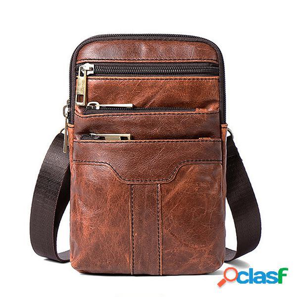 Homens cintura bolsa couro genuíno telefone bolsa mini crossbody bolsa