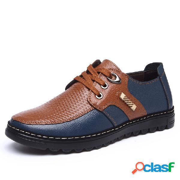 Homens couro splicing non slip lace up soft calçados casuais