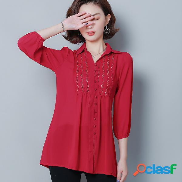 Longo chiffon longo das mulheres camisa longo europeu de produtos de manga camisa protetor solar estrangeiro camisa carne tibetana