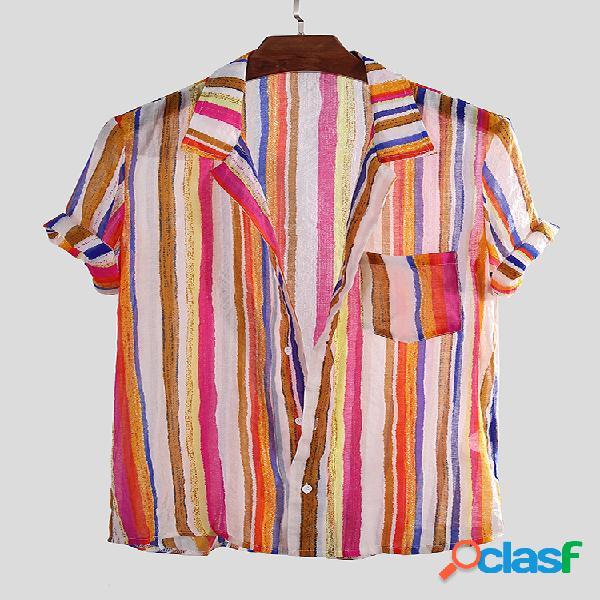 Mens colorful listrado leve no peito bolso respirável gola virada para baixo camisas de manga curta