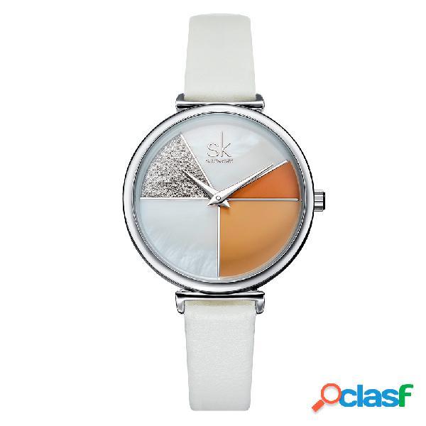 Moda cor segmentação ladies casual dial couro banda mulheres quartz watch