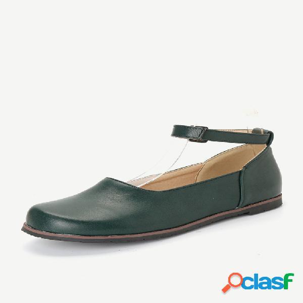 Mulheres de grande tamanho retro cor sólida buckle flat loafers