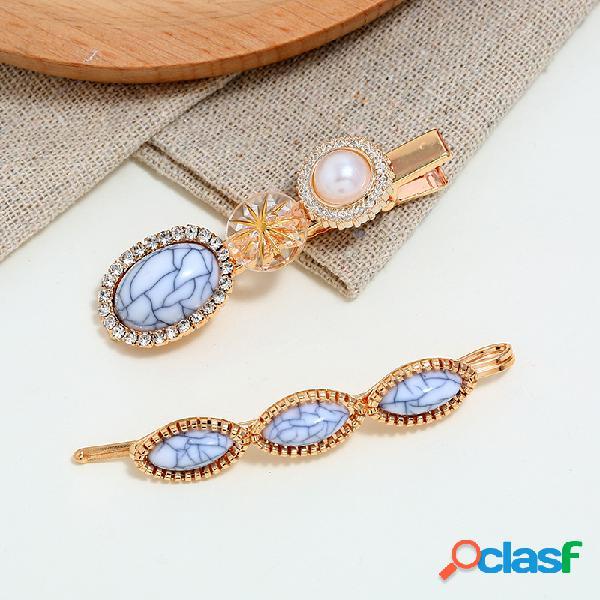 Azul na moda turquesa cabelo clipe rhinestone pérola cabelo clipe para as mulheres cabelo acessórios