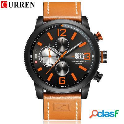 Esporte impermeável relógios de quartzo couro data casual business wristwatch