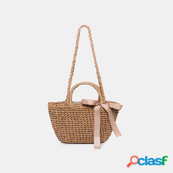 Tecido de palha bolsa mulheres de malha crossbody bolsa com verão praia bolsa