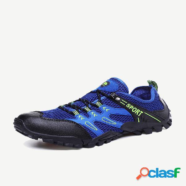 Homens de malha de tecido antiderrapante soft única casual caminhadas sneakers