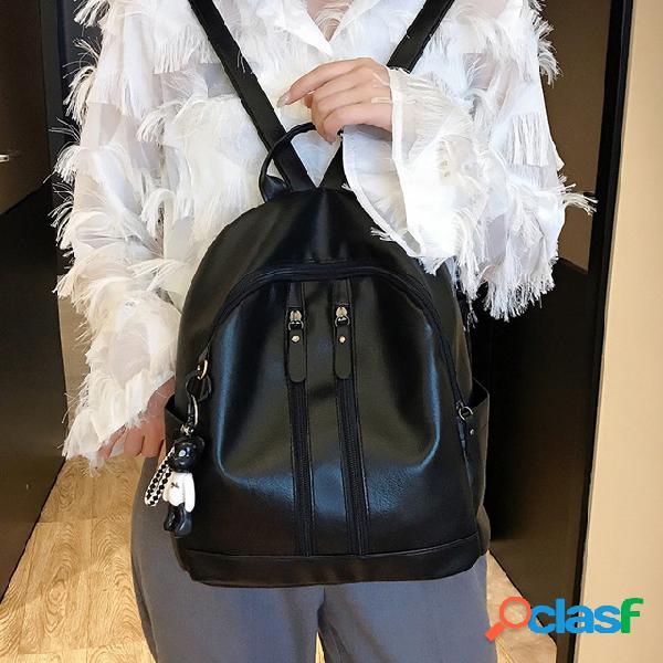 Mochila feminina nova tendência pu soft couro moda selvagem simples faculdade vento lazer mochila de viagem
