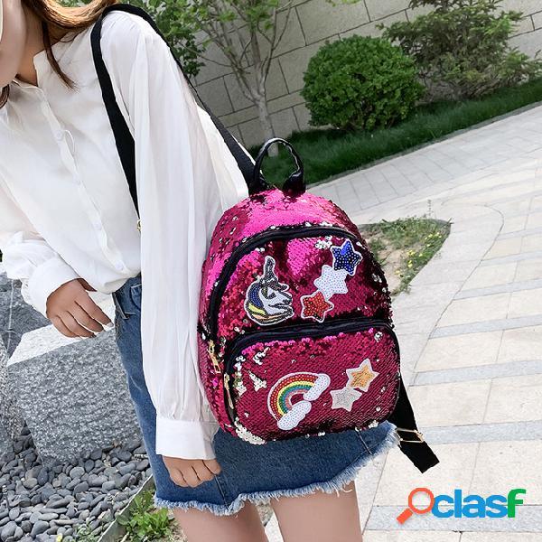 Mochila unicórnio de lantejoulas nova mochila de moda de menina dos desenhos animados bolsa mochila de viagem