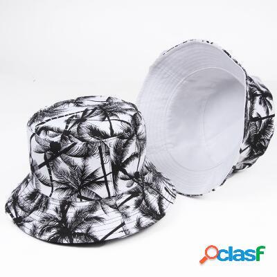 Mulher homens impresso coco dupla face útil cap balde protetor solar ao ar livre viseira pescador chapéu