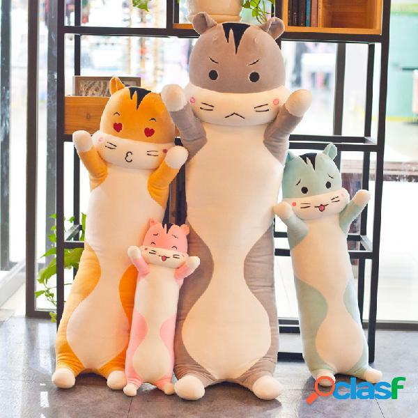 40/60/80 cm bonito hamster longo tira de penas recheado brinquedos para casa quarto trás assento brinquedo travesseiro criança presente