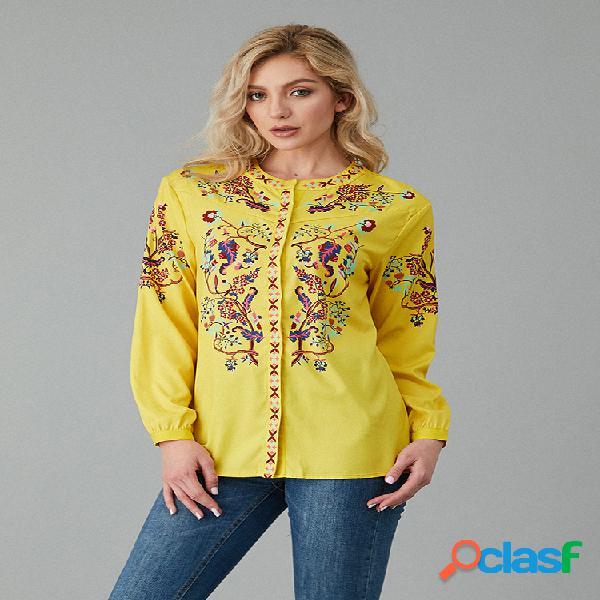 Blusa casual com estampa floral com decote em v plus tamanho casual