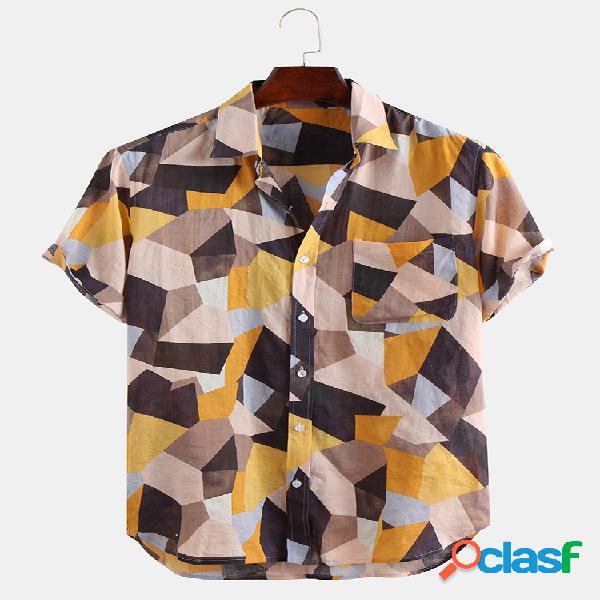 Homem 100% algodão cor bloco bolso no peito gola virada para baixo camisas de manga curta