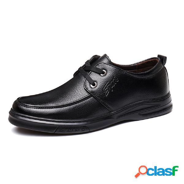Homens comfy toe rodada soft sole low top lace up calçados casuais