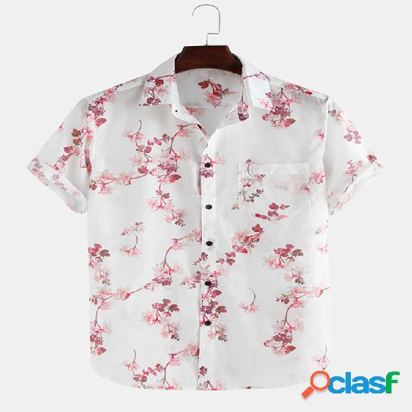 Lapela de manga curta solta respirável estampada com flores camisa