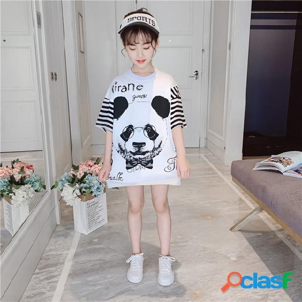 Meninas t-shirt new wave moda infantil de roupas infantis de manga curta 9 grande das crianças longo meia-luva de camisa