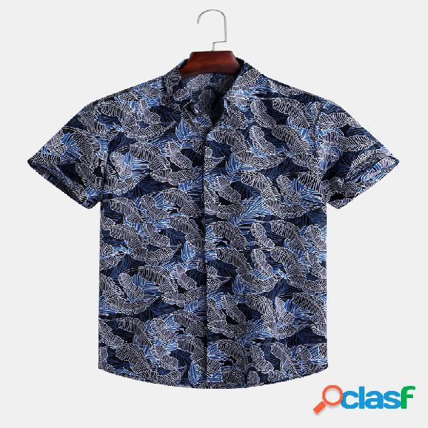 Mens summer folha impresso turn down collar camisas de manga curta