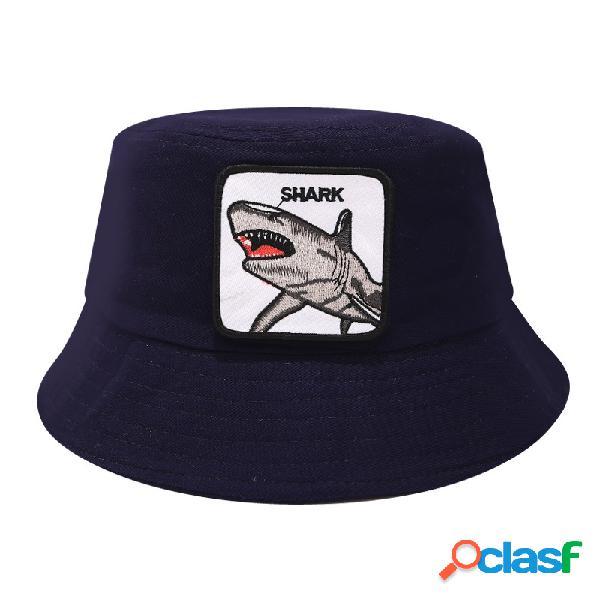 Pescador de algodão das mulheres dos homens chapéu animal imprimir com top flat tubarão chapéu sol ao ar livre chapéu