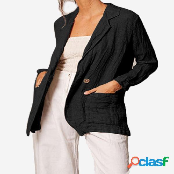Casaco feminino plissado de manga comprida de algodão de escritório