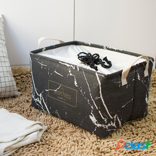 Mármore dustproof grande grosso dobrável acabamento caixa algodão linho arte cesta de armazenamento de roupas