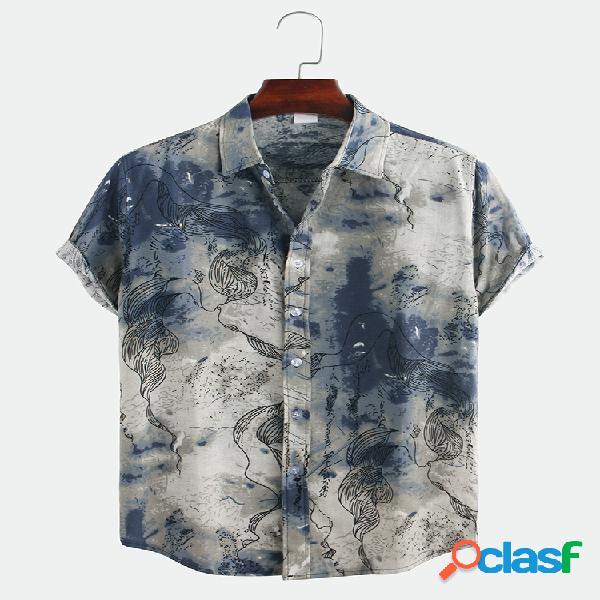 Masculino estilo chinês impressão abstrata camisas casuais de manga curta solta