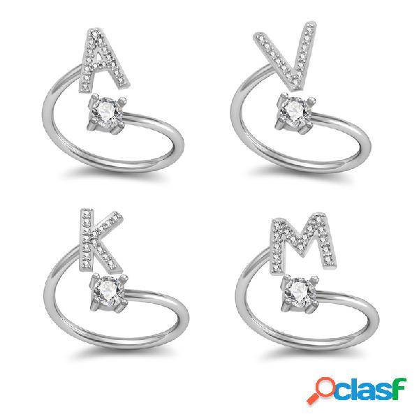 26 carta anel inglês banhado a ouro branco strass anel anel ajustável geométrica