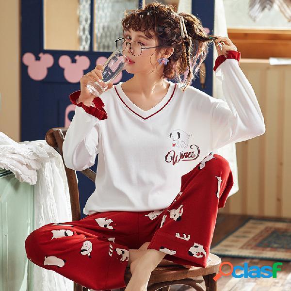 Algodão de manga comprida solta filhote de cachorro dos desenhos animados serviço de casa de duas peças de pijama