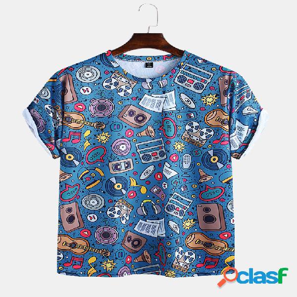 Camisetas masculinas engraçadas com estampa de gola redonda e manga curta