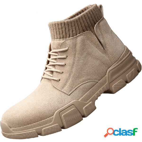 Homens elastic slip on sock camurça sintética lace up antiderrapante ankle boots