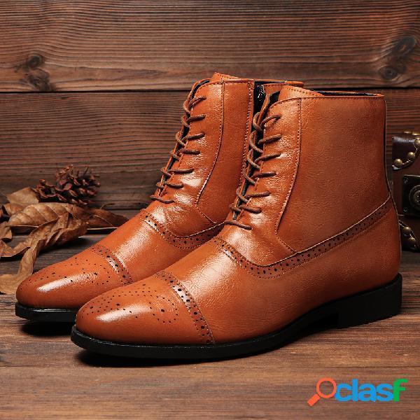 Homens estilo britânico brogue microfibra couro zipper lace up ankle bootes