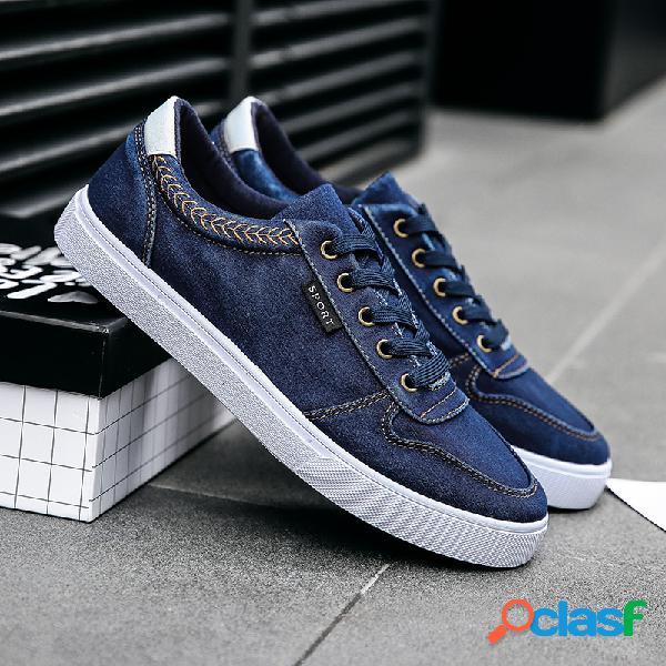 Homens formadores de lona lavada comfy slip resistant lace up casual shoes