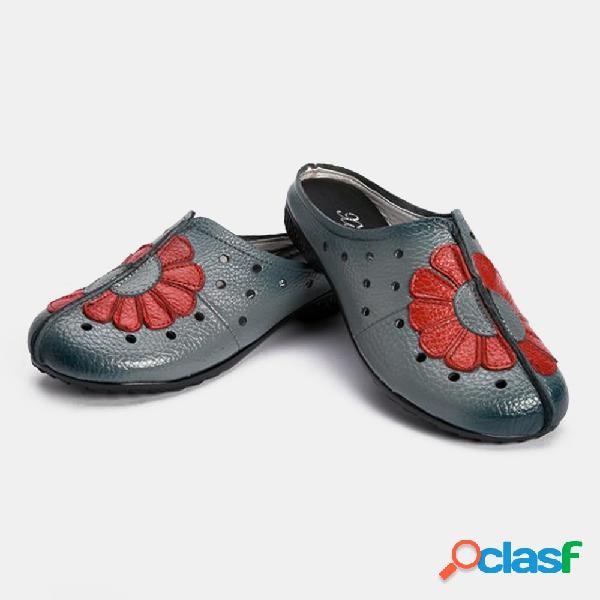 Mulheres casual couro dedo do pé redondo oco sapatos baixos de salto aberto