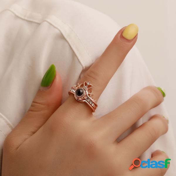 Na moda 100 línguas eu te amo anel de projeção destacável aberto dedo anel casal jóias