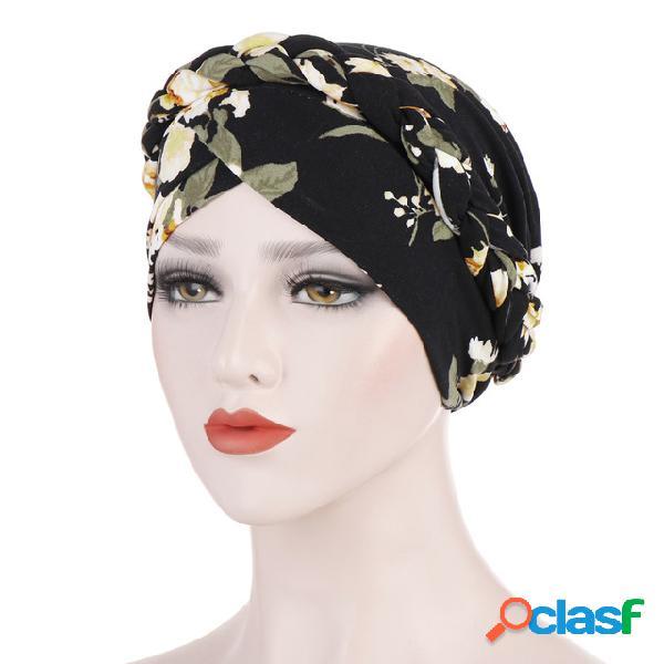 Novo impresso lixar leite de seda muçulmano lenço chapéu pano de flor curta beanie cap pode ser escondido