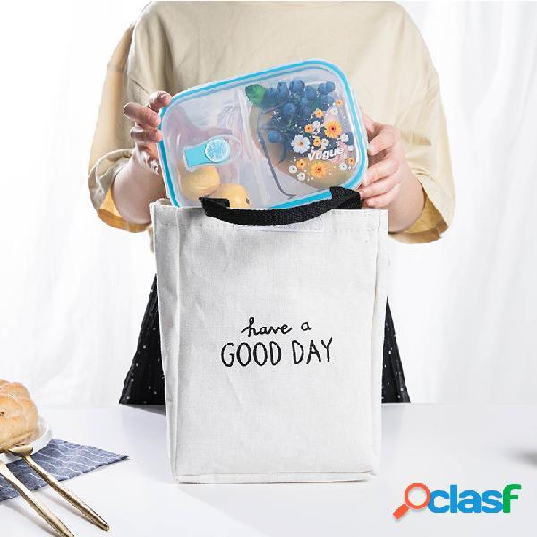 Quadrado de algodão e linho bom dia de viagem de almoço bolsa pacote de isolamento dos desenhos animados refrigerador ao ar livre piquenique