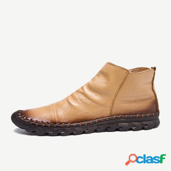 Botas de couro com costura à mão e sola de borracha resistentes ao tornozelo e zíper
