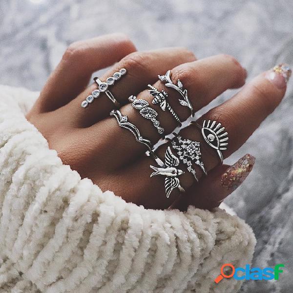 Pássaro geométrico boêmio bee anéis coroa diamante conjunto anel de diabo deixa o anel de dedo