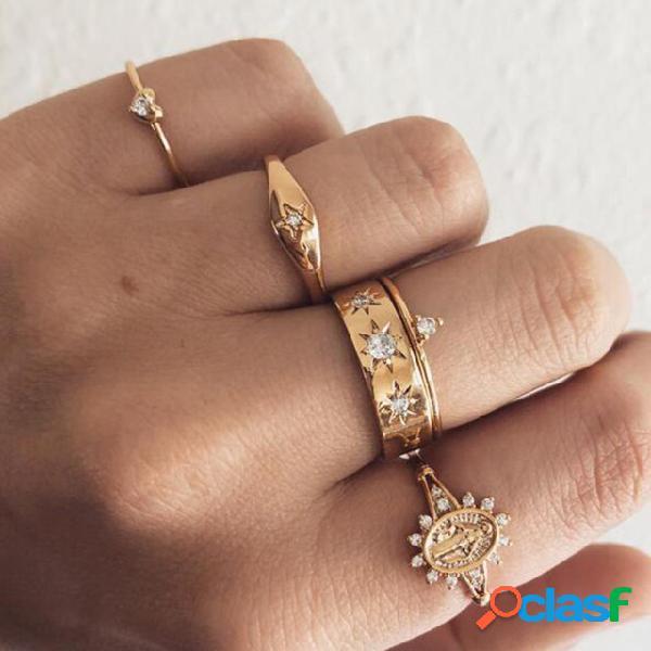 Pêssego geométrico do vintage coração anéis totem de strass pingente conjunto de anéis de jóias da moda