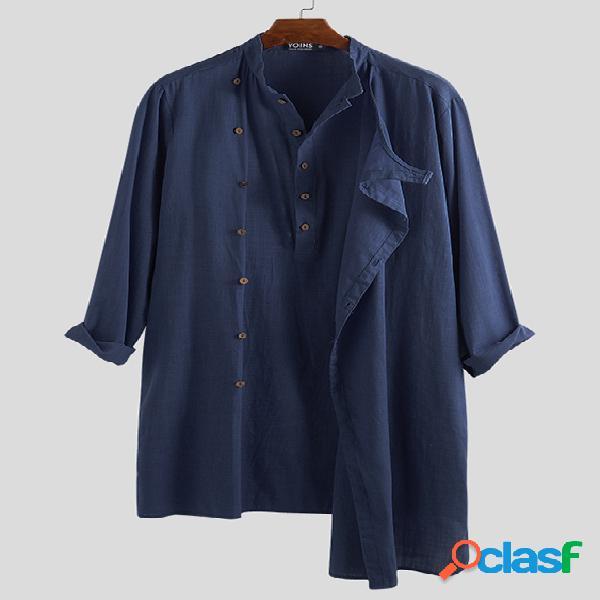 Jaquetas masculinas de manga longa com decote do avô irregular