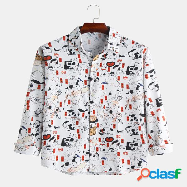 Mens funny animals impresso manga comprida slim fit camisas de grife